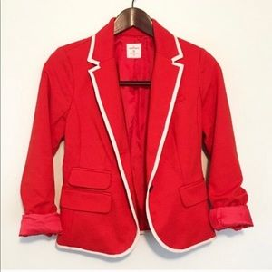 Red gap blazer with ivory trimming